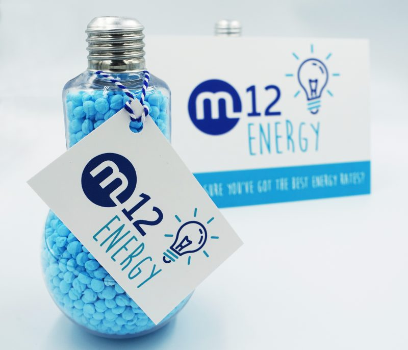 M12 Energy Blue Lightbulbs Postcard Small